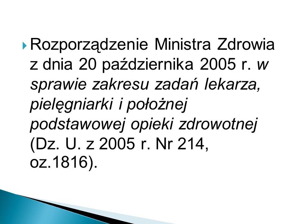Rozporządzenie Ministra Zdrowia z dnia 20 października 2005 r