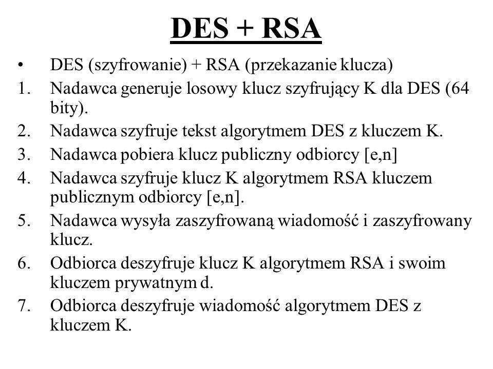 DES + RSA DES (szyfrowanie) + RSA (przekazanie klucza)