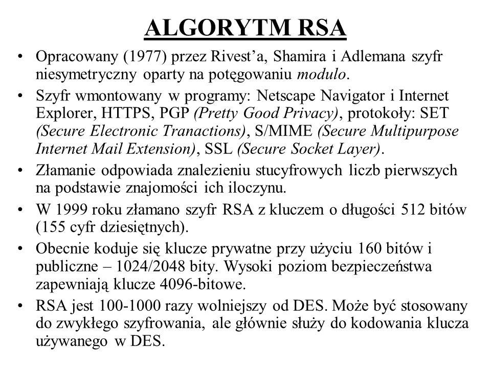 ALGORYTM RSA Opracowany (1977) przez Rivest'a, Shamira i Adlemana szyfr niesymetryczny oparty na potęgowaniu modulo.