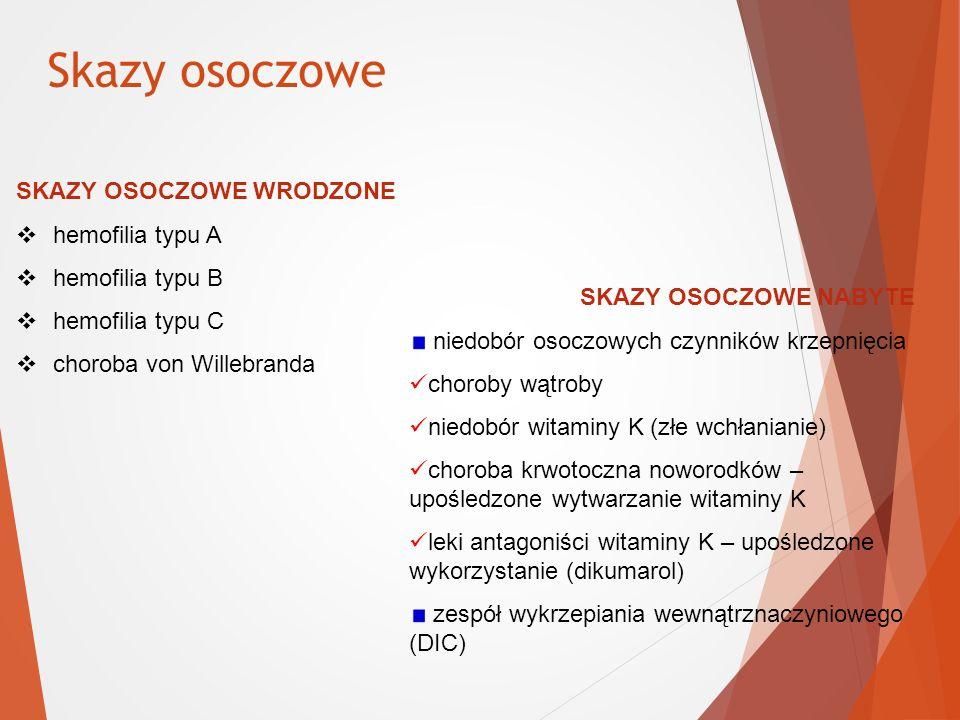 Skazy osoczowe SKAZY OSOCZOWE WRODZONE hemofilia typu A
