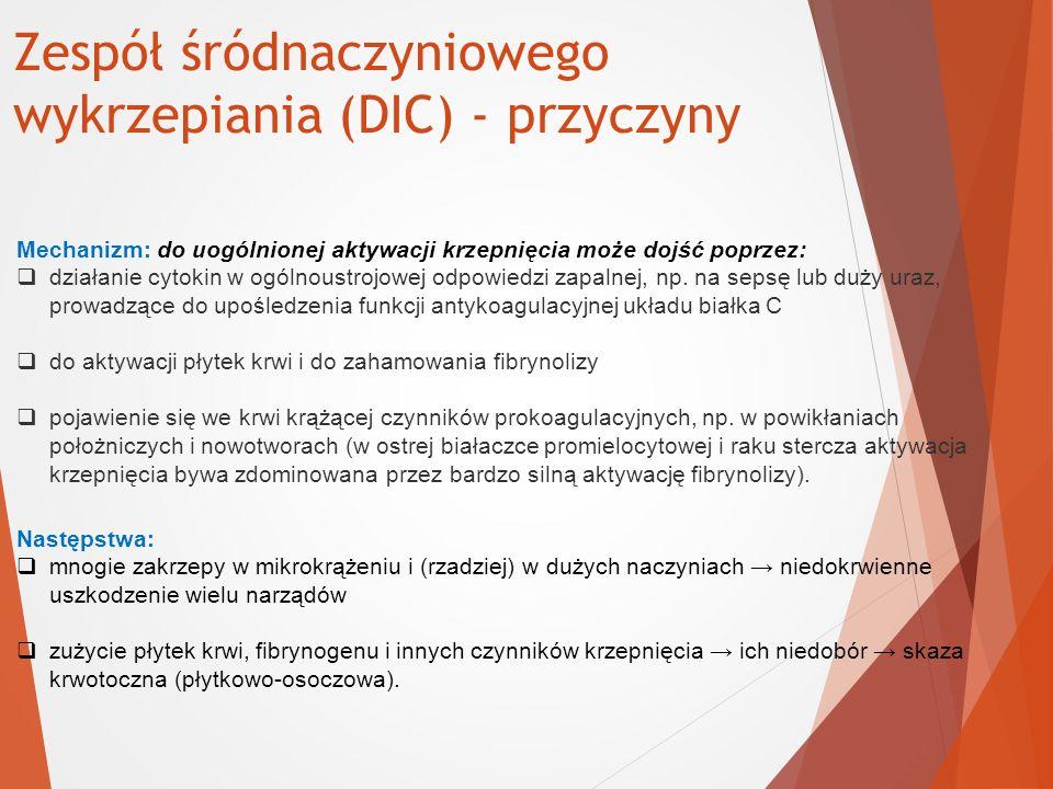 Zespół śródnaczyniowego wykrzepiania (DIC) - przyczyny