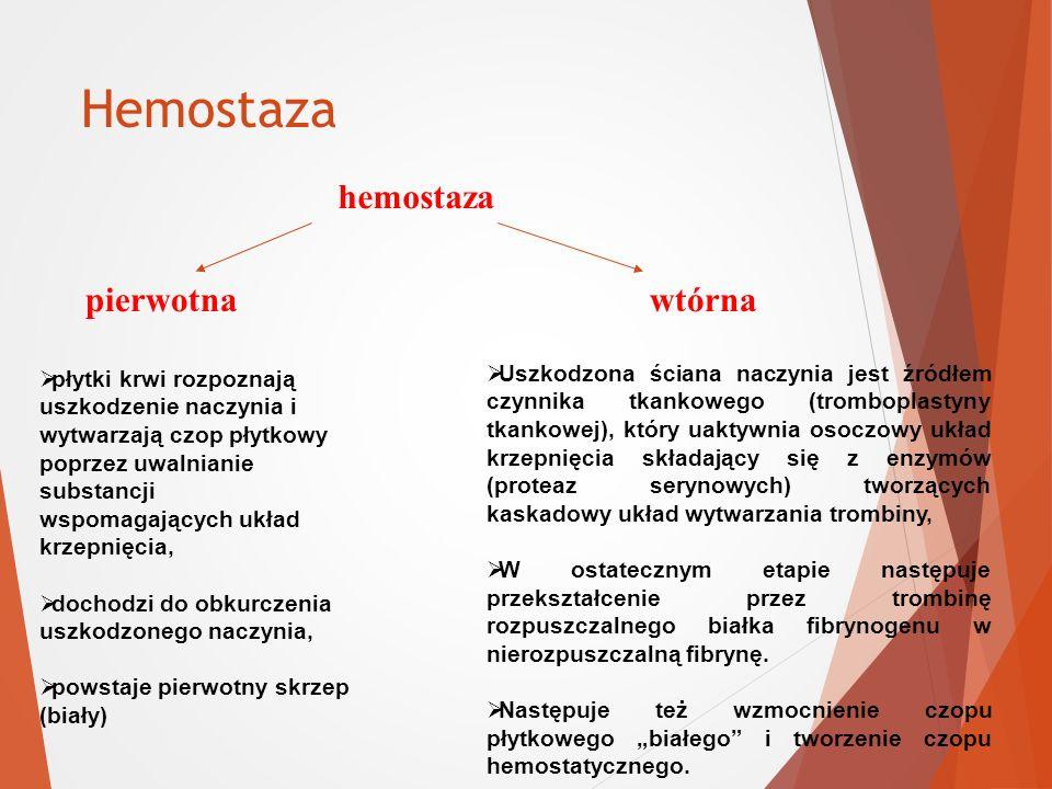 Hemostaza hemostaza pierwotna wtórna