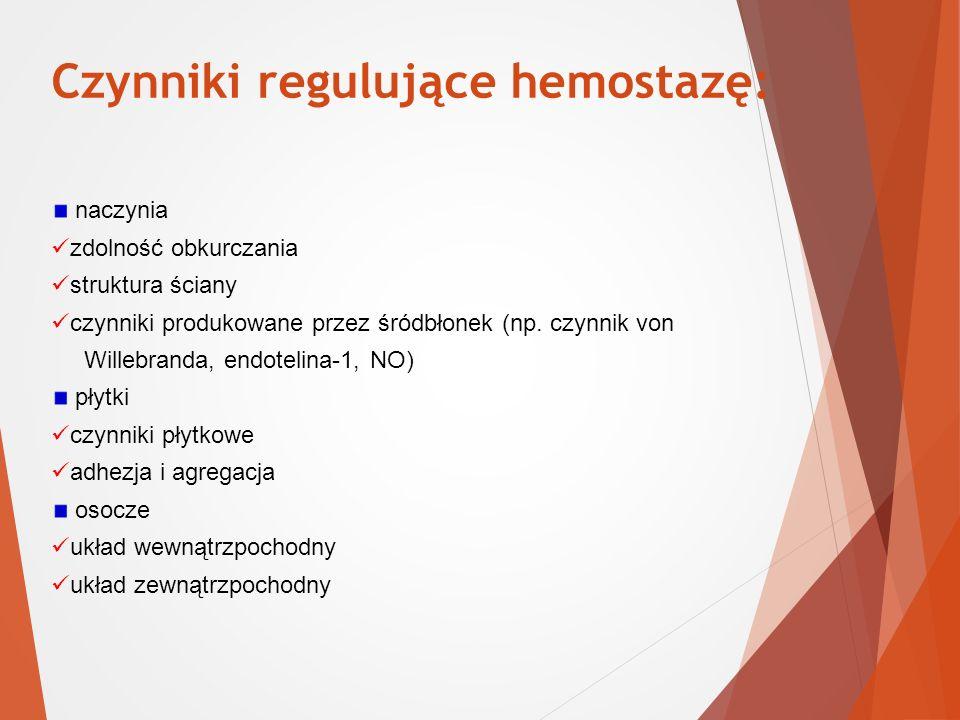 Czynniki regulujące hemostazę: