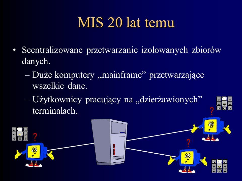 """MIS 20 lat temu Scentralizowane przetwarzanie izolowanych zbiorów danych. Duże komputery """"mainframe przetwarzające wszelkie dane."""