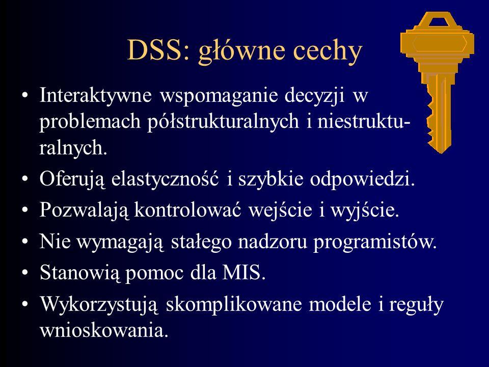 DSS: główne cechyInteraktywne wspomaganie decyzji w problemach półstrukturalnych i niestruktu-ralnych.