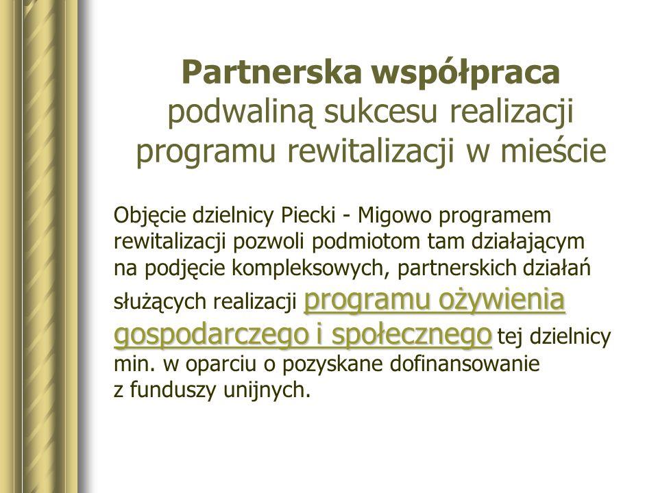 * Partnerska współpraca podwaliną sukcesu realizacji programu rewitalizacji w mieście.