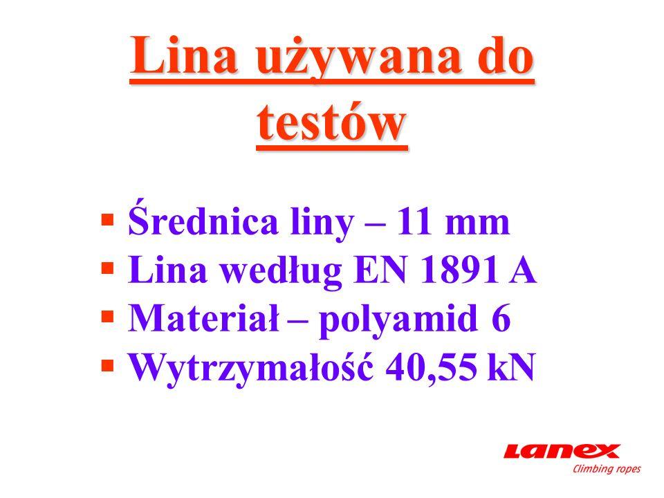 Lina używana do testów Średnica liny – 11 mm Lina według EN 1891 A