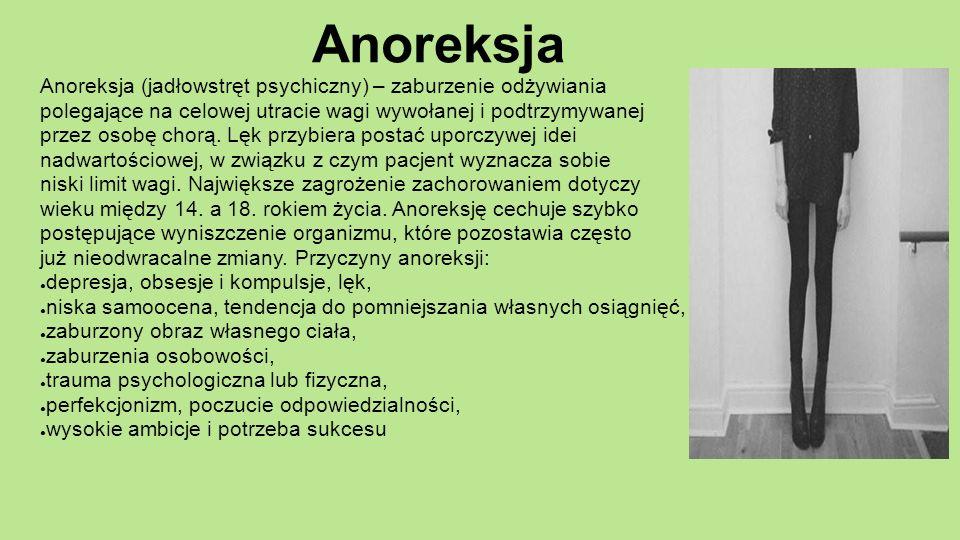 Anoreksja Anoreksja (jadłowstręt psychiczny) – zaburzenie odżywiania