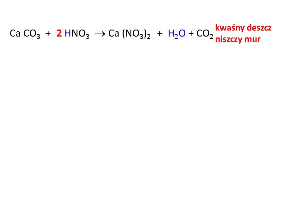 kwaśny deszcz niszczy mur Ca CO3 + HNO3  Ca (NO3)2 2 + H2O + CO2