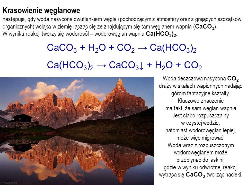 CaCO3 + H2O + CO2 → Ca(HCO3)2 Ca(HCO3)2 → CaCO3↓ + H2O + CO2