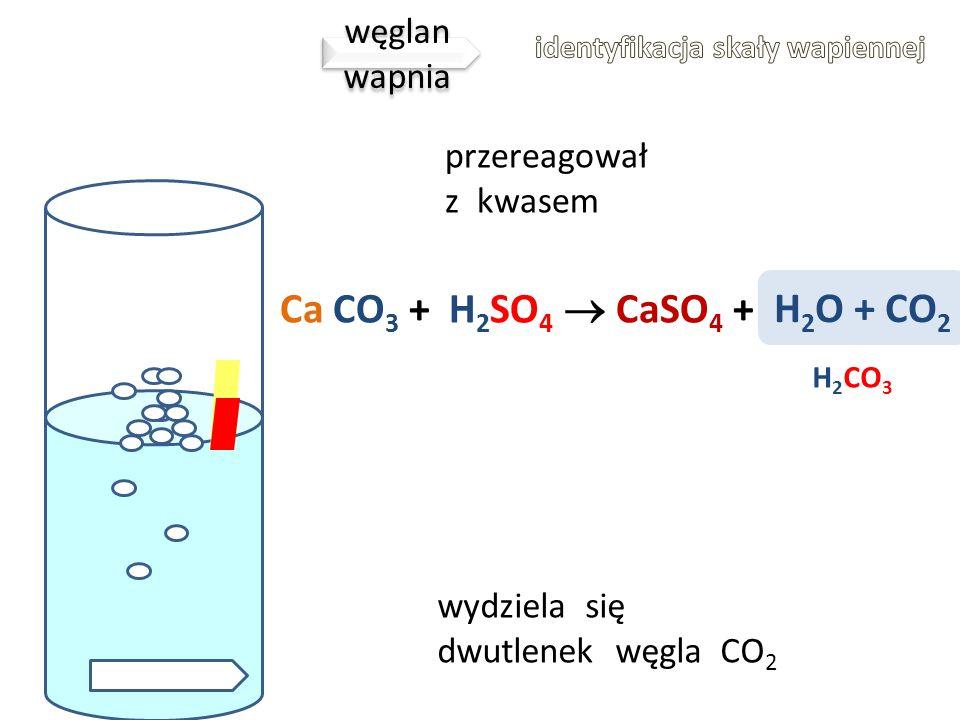 H2O + CO2 Ca CO3 + H2SO4  CaSO4 + węglan wapnia przereagował z kwasem