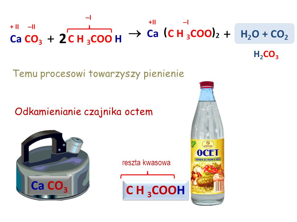 + + 2  Ca CO3 C H 3COOH Ca ( )2 C H 3COO H2O + CO2 Ca CO3 C H 3COO H