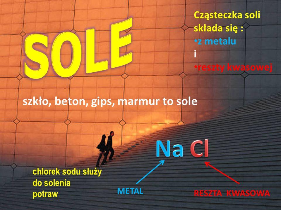 SOLE Na Cl szkło, beton, gips, marmur to sole Cząsteczka soli