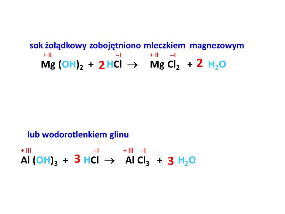 2 2 3 3 Mg (OH)2 + HCl  Mg Cl2 + H2O Al (OH)3 + HCl  Al Cl3 + H2O