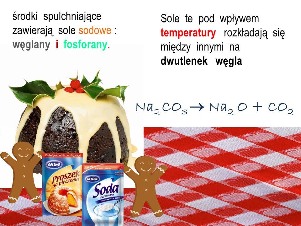 środki spulchniające zawierają sole sodowe : węglany i fosforany.
