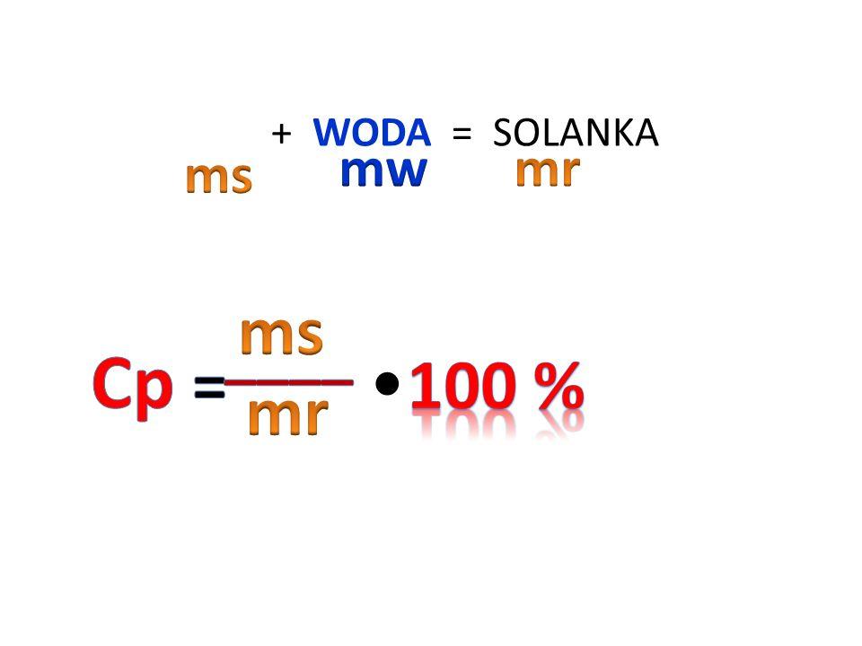 SÓL + WODA = SOLANKA mw mr ms ms ____ Cp =  100 % mr