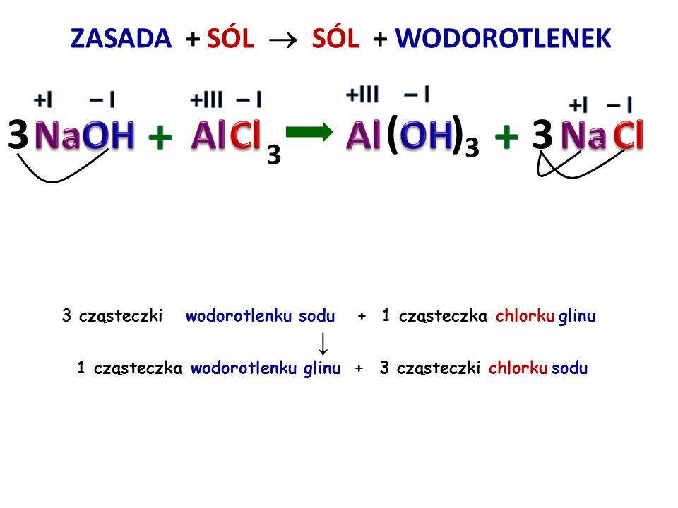 + + 3 ( )3 3 NaOH Al Cl Al OH Na Cl ZASADA + SÓL  SÓL + WODOROTLENEK