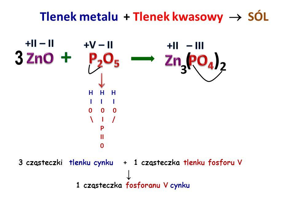 + 3 ( )2 ZnO P2O5 Zn PO4 ↓ Tlenek metalu + Tlenek kwasowy  SÓL 3