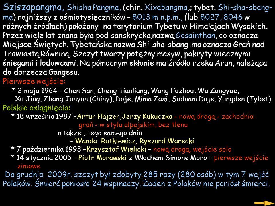 Sziszapangma, Shisha Pangma, (chin. Xixabangma,; tybet