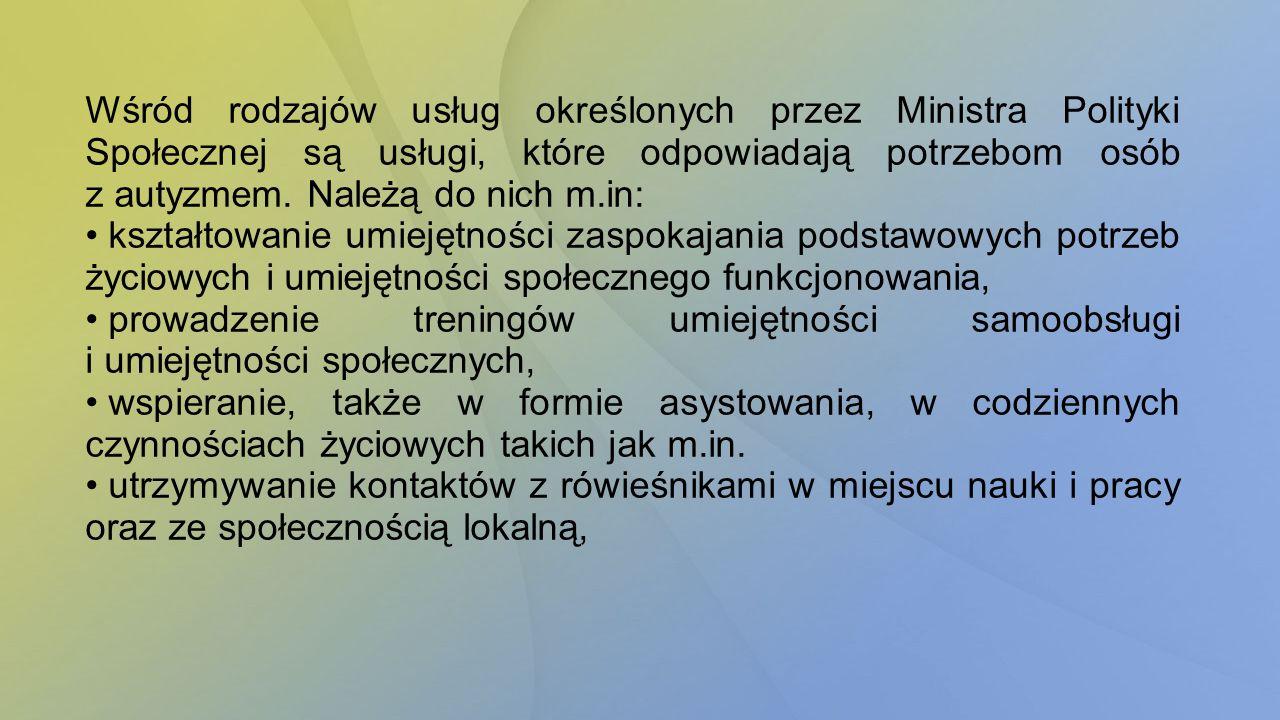 Wśród rodzajów usług określonych przez Ministra Polityki Społecznej są usługi, które odpowiadają potrzebom osób z autyzmem. Należą do nich m.in: