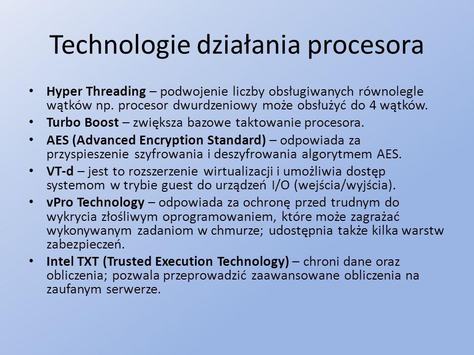 Technologie działania procesora