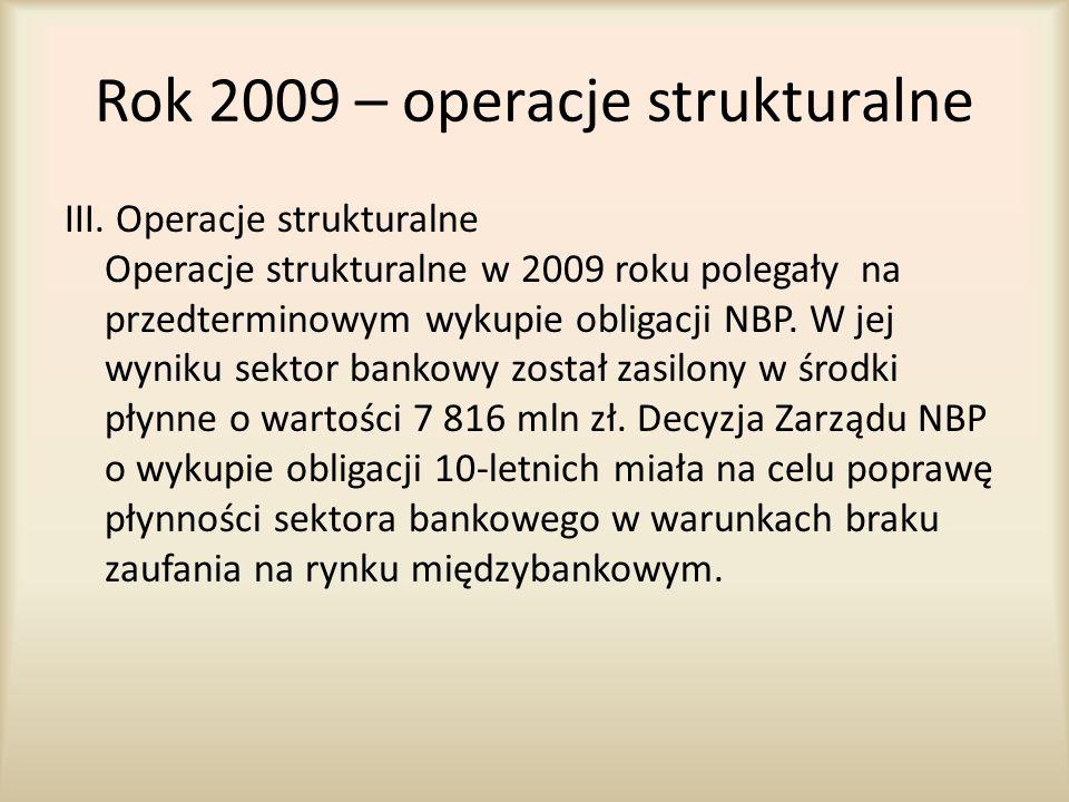 Rok 2009 – operacje strukturalne
