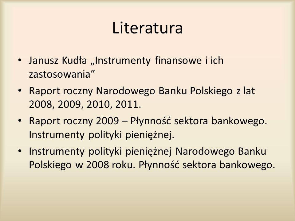 """Literatura Janusz Kudła """"Instrumenty finansowe i ich zastosowania"""