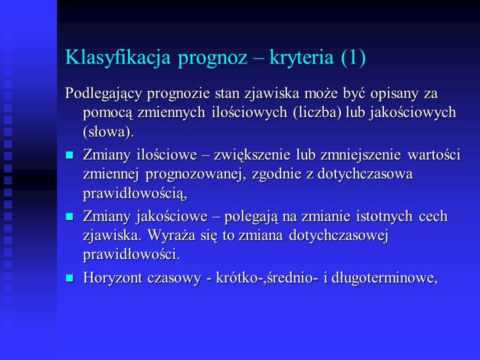 Klasyfikacja prognoz – kryteria (1)