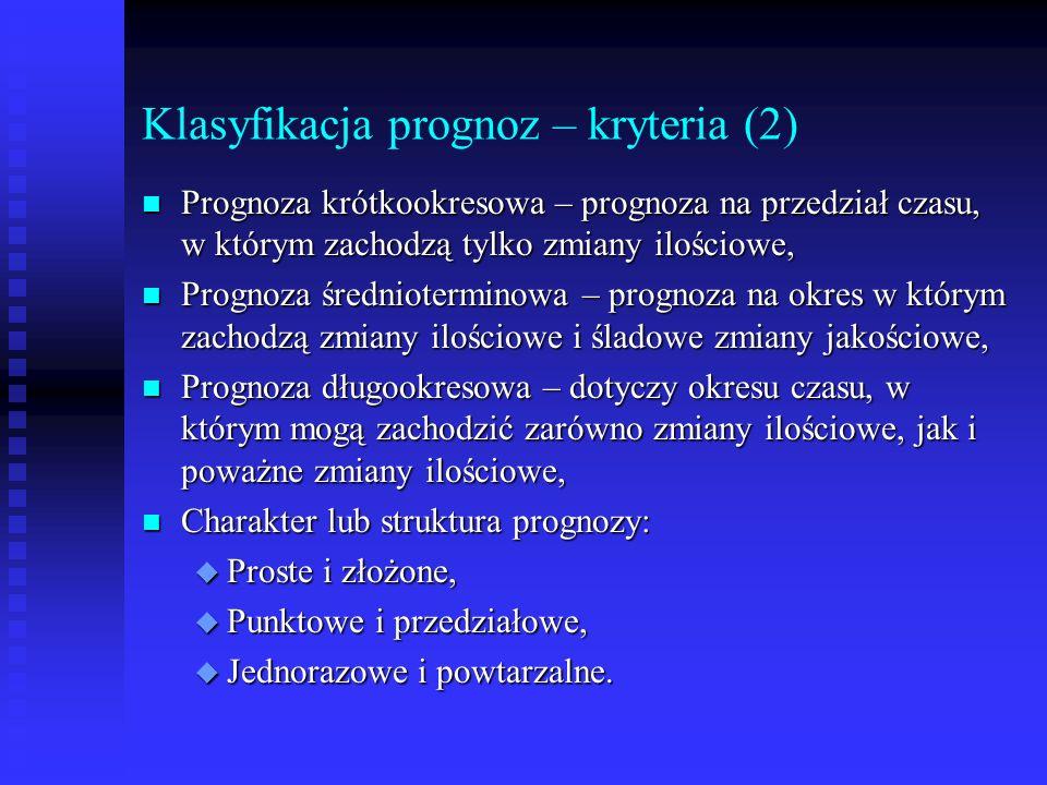 Klasyfikacja prognoz – kryteria (2)