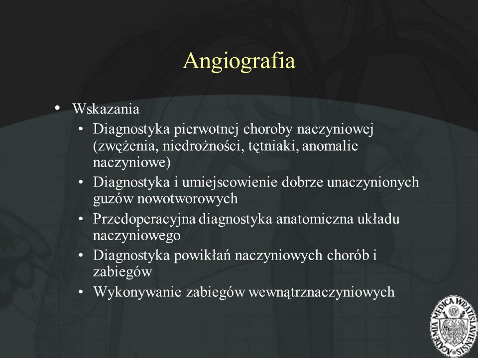 Angiografia Wskazania