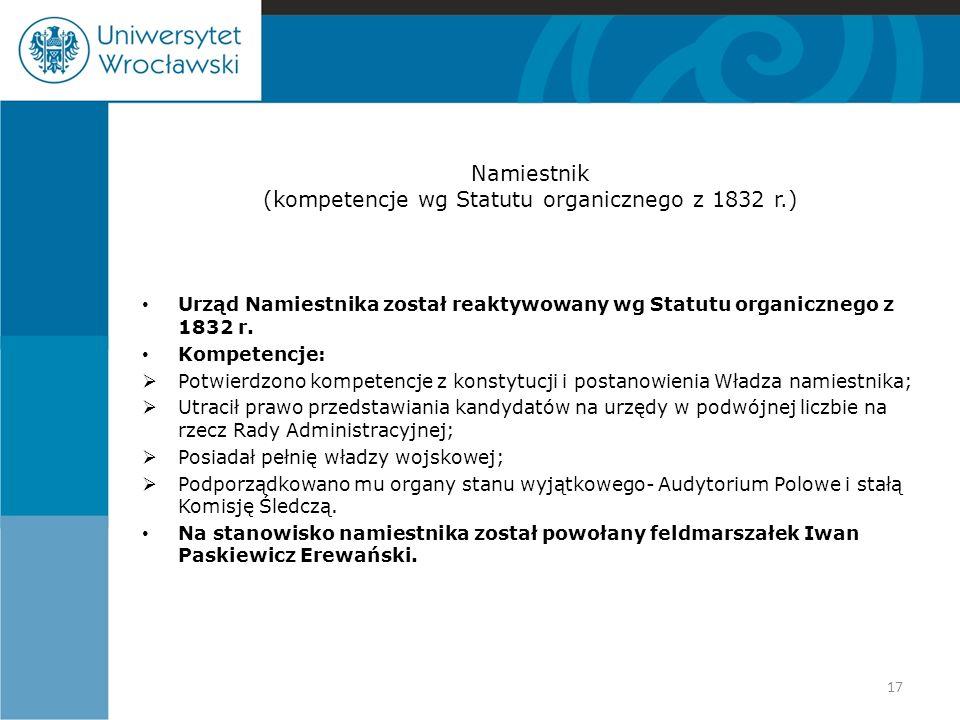 Namiestnik (kompetencje wg Statutu organicznego z 1832 r.)