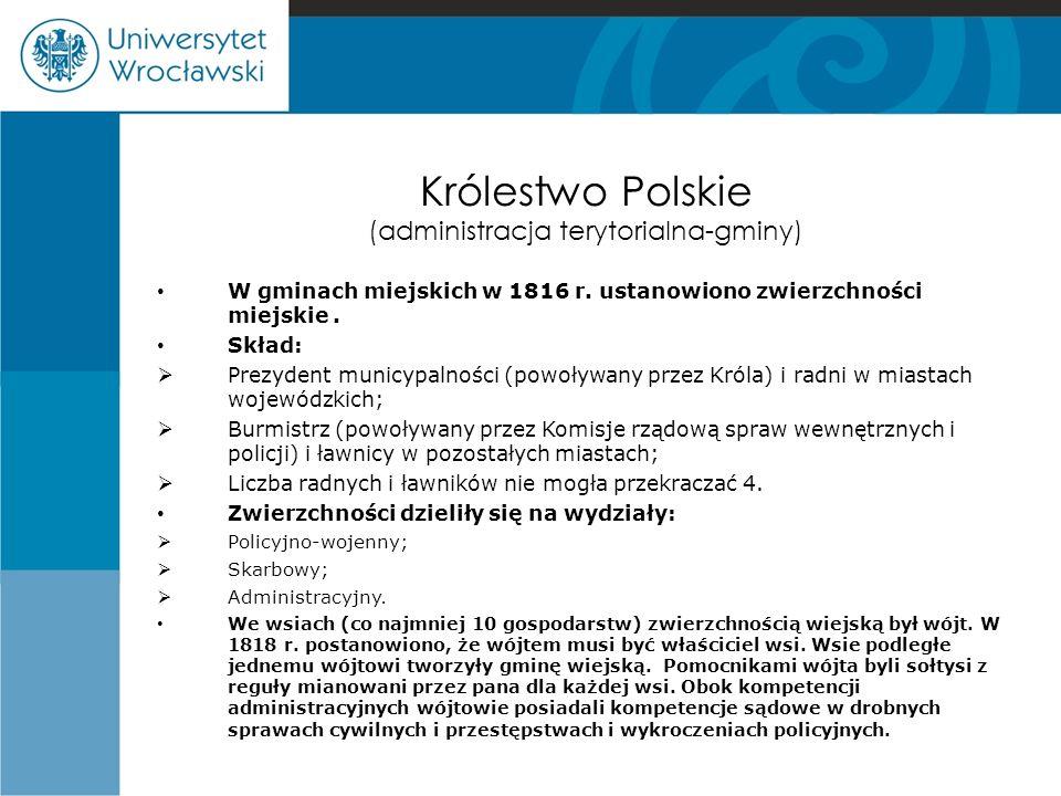 Królestwo Polskie (administracja terytorialna-gminy)