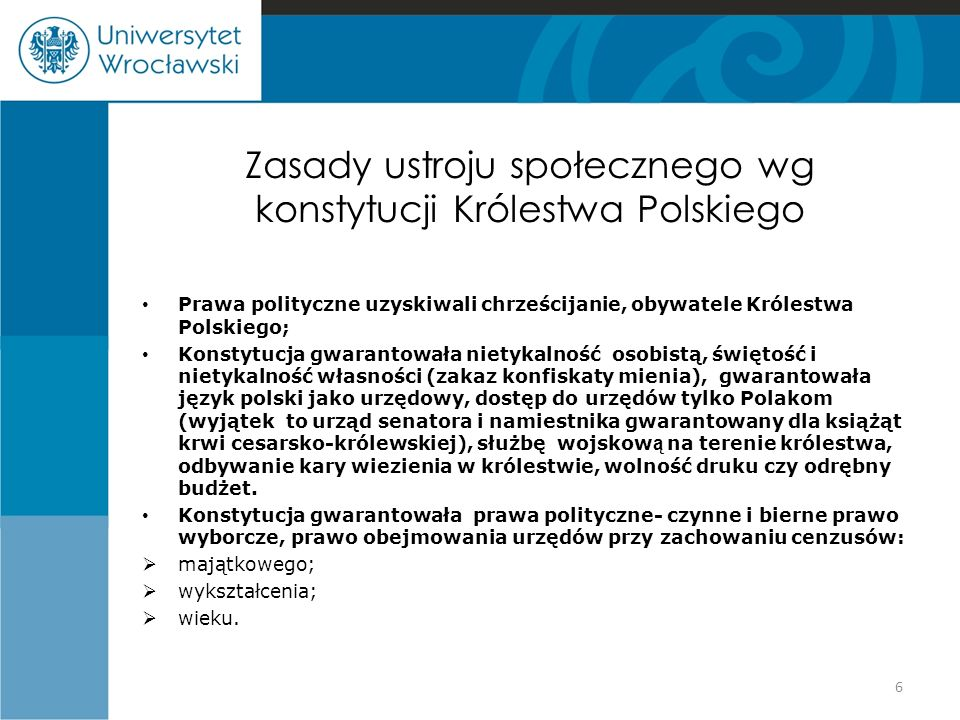 Zasady ustroju społecznego wg konstytucji Królestwa Polskiego