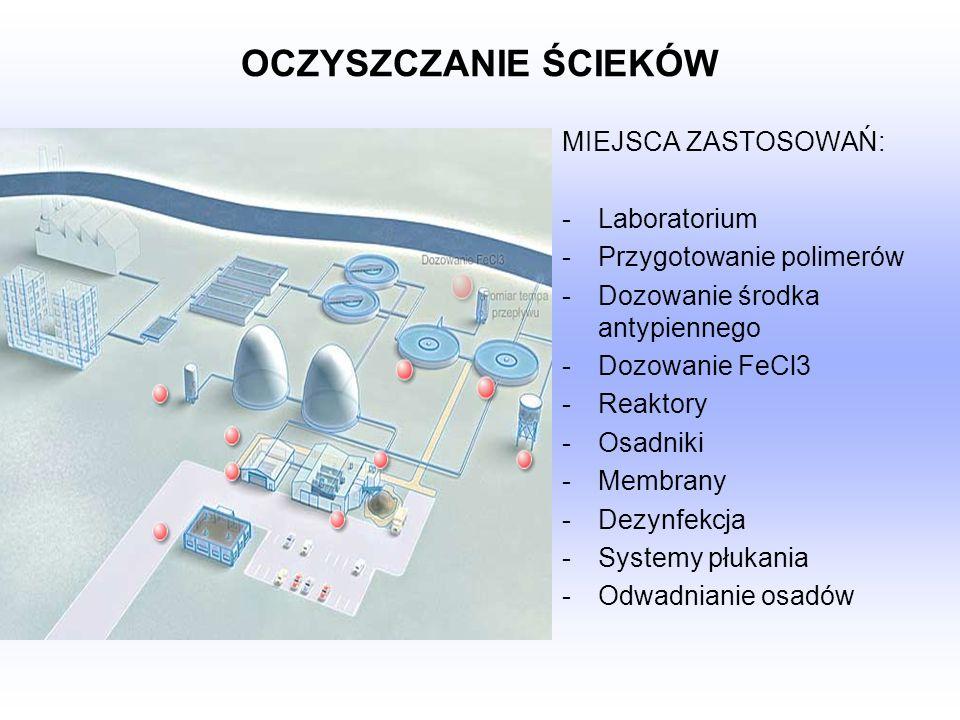 OCZYSZCZANIE ŚCIEKÓW MIEJSCA ZASTOSOWAŃ: Laboratorium