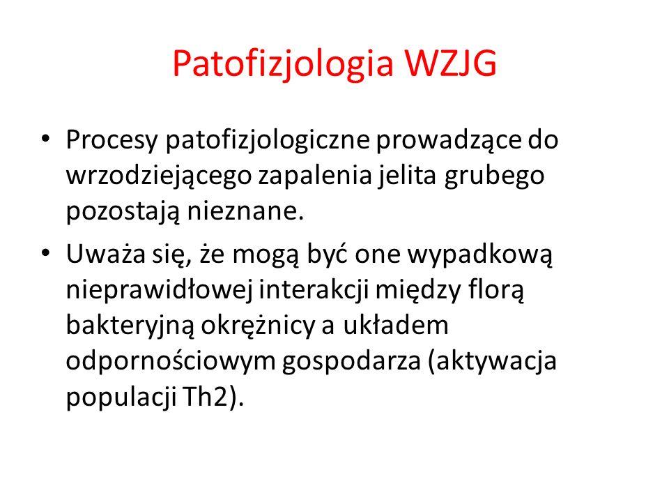Patofizjologia WZJGProcesy patofizjologiczne prowadzące do wrzodziejącego zapalenia jelita grubego pozostają nieznane.