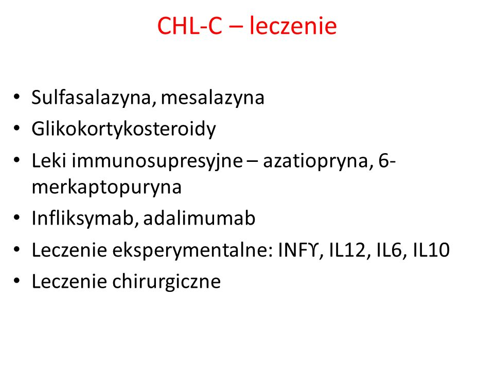 CHL-C – leczenie Sulfasalazyna, mesalazyna Glikokortykosteroidy
