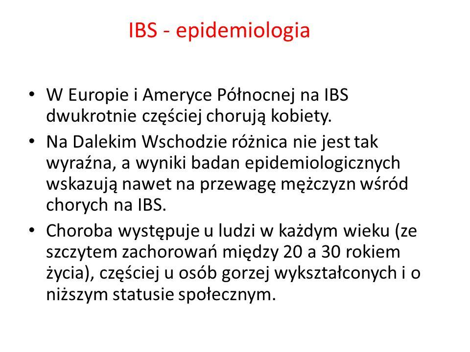 IBS - epidemiologiaW Europie i Ameryce Północnej na IBS dwukrotnie częściej chorują kobiety.