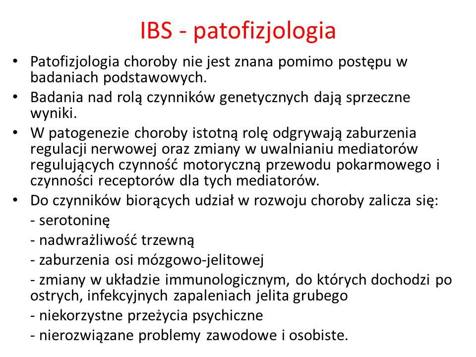 IBS - patofizjologiaPatofizjologia choroby nie jest znana pomimo postępu w badaniach podstawowych.