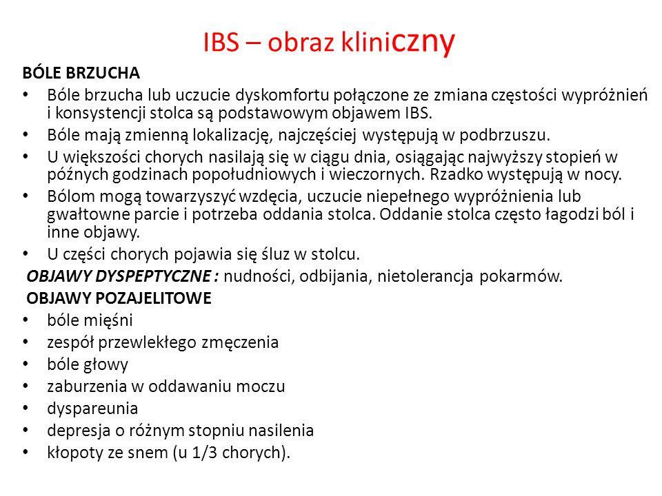 IBS – obraz kliniczny BÓLE BRZUCHA