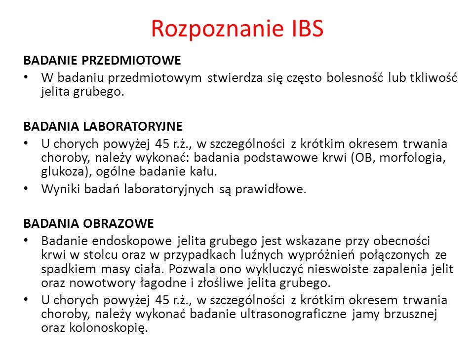 Rozpoznanie IBS BADANIE PRZEDMIOTOWE