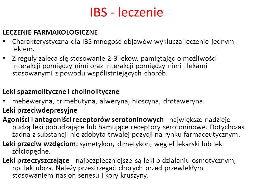IBS - leczenie LECZENIE FARMAKOLOGICZNE