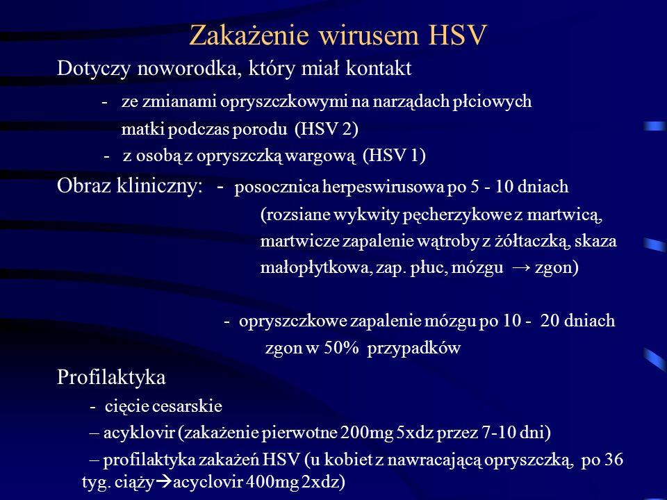 Zakażenie wirusem HSV Dotyczy noworodka, który miał kontakt