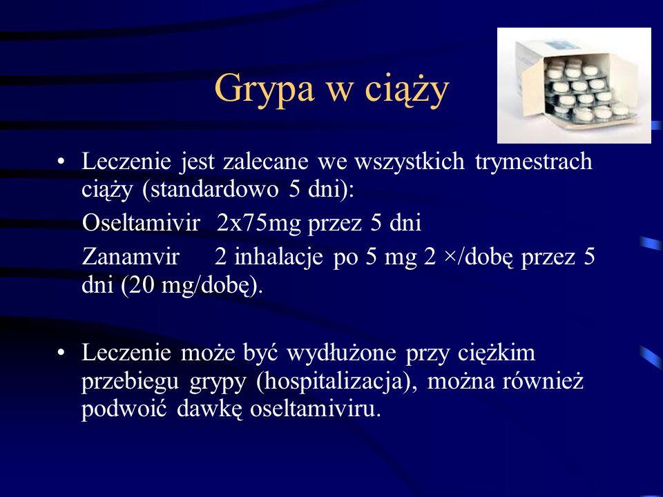 Grypa w ciąży Leczenie jest zalecane we wszystkich trymestrach ciąży (standardowo 5 dni): Oseltamivir 2x75mg przez 5 dni.