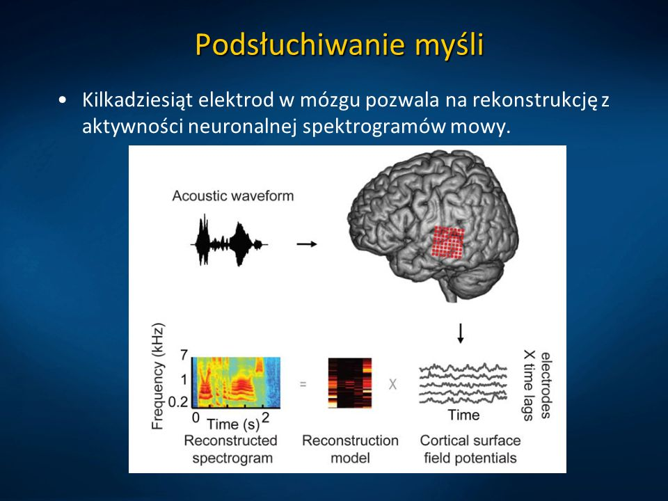 Podsłuchiwanie myśli Kilkadziesiąt elektrod w mózgu pozwala na rekonstrukcję z aktywności neuronalnej spektrogramów mowy.