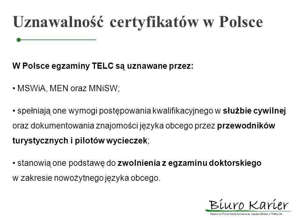 Uznawalność certyfikatów w Polsce