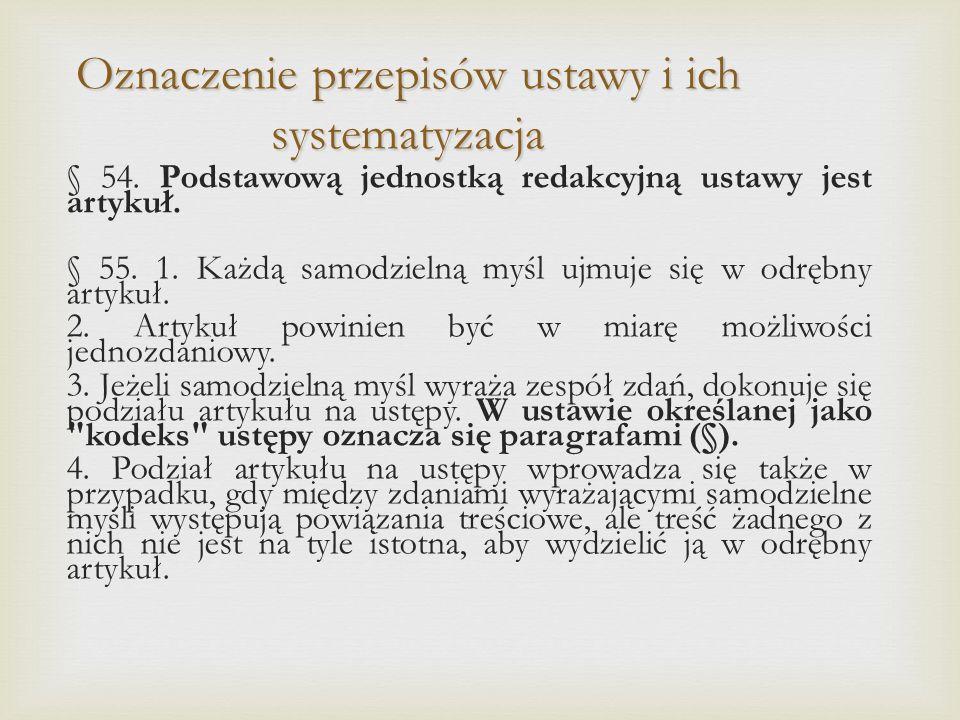 Oznaczenie przepisów ustawy i ich systematyzacja