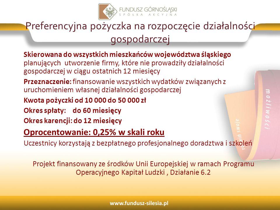 Preferencyjna pożyczka na rozpoczęcie działalności gospodarczej