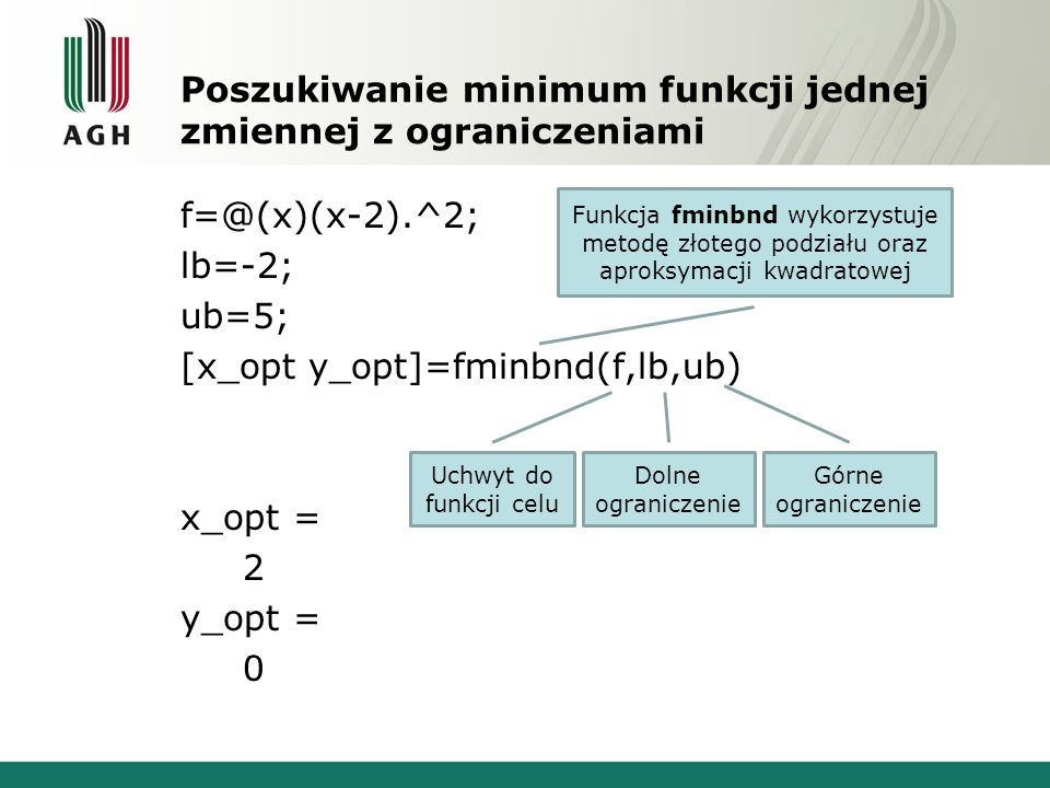 Poszukiwanie minimum funkcji jednej zmiennej z ograniczeniami
