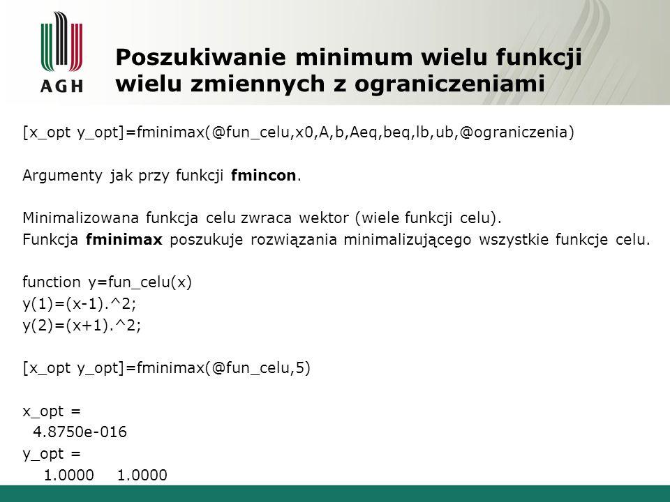 Poszukiwanie minimum wielu funkcji wielu zmiennych z ograniczeniami