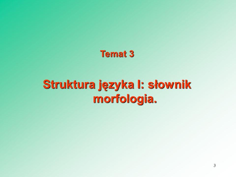 Struktura języka I: słownik morfologia.